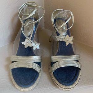 Colin Stuart Denim Wedge Espadrille Leather Sandal